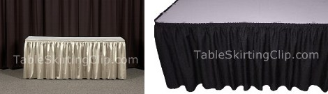 Economy Table Skirts from TableSkirtingClip.com