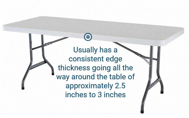 The JX Table Skirting Clip works best on tables with an edge thickness between 2 1/2 and 3 inches