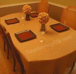 "90"" x 132"" Rectangle Faux Burlap Tablecloth"