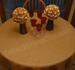 "72"" Round Faux Burlap Tablecloth"