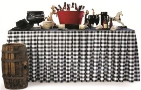 14' Checkered Table Skirt - Box Pleat