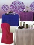 6 Foot Poly Stripe Fitted Tablecloth