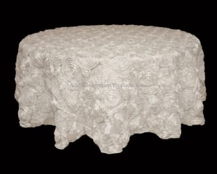 "108"" Round Rosette Satin Tablecloth"