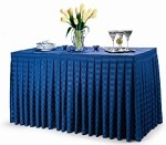 14' Poly Stripe Box Pleat Table Skirt